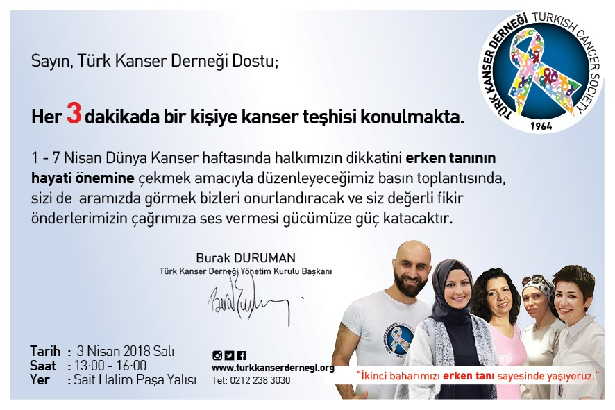 1-7 Nisan 2018 Kanser Haftası - TÜRK KANSER DERNEĞİ