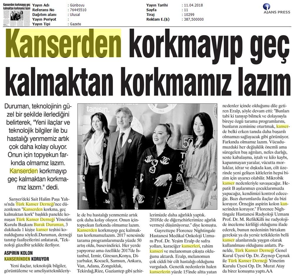 Dünya Kanser Haftası Basın Toplantısı - Basında Biz - TÜRK KANSER DERNEĞİ